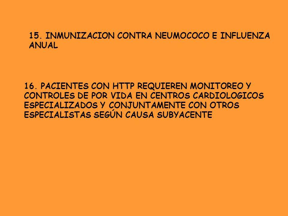 15. INMUNIZACION CONTRA NEUMOCOCO E INFLUENZA ANUAL 16. PACIENTES CON HTTP REQUIEREN MONITOREO Y CONTROLES DE POR VIDA EN CENTROS CARDIOLOGICOS ESPECI