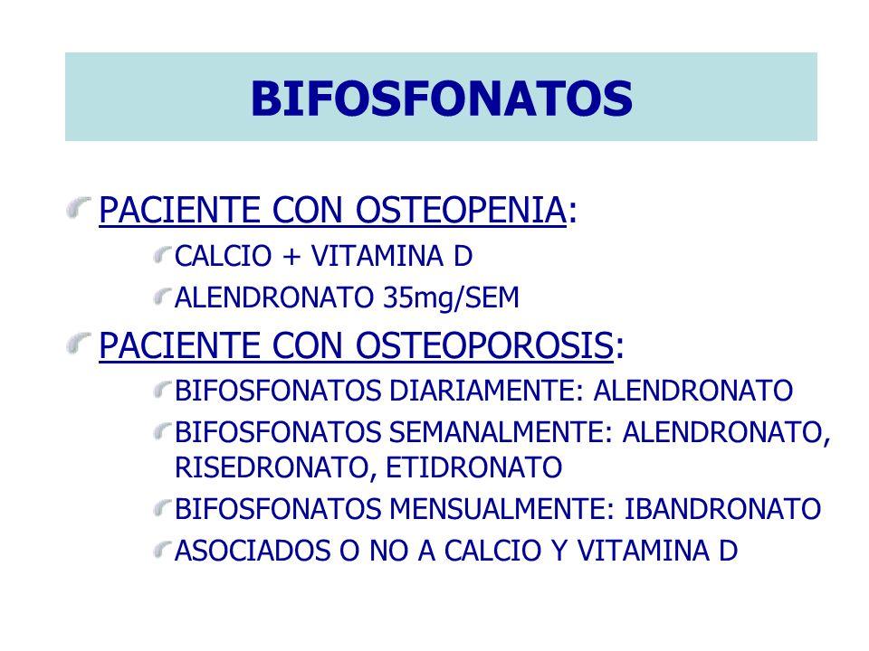 BIFOSFONATOS PACIENTE CON OSTEOPENIA: CALCIO + VITAMINA D ALENDRONATO 35mg/SEM PACIENTE CON OSTEOPOROSIS: BIFOSFONATOS DIARIAMENTE: ALENDRONATO BIFOSF