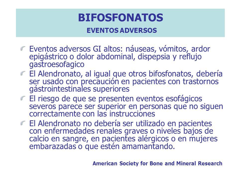 BIFOSFONATOS EVENTOS ADVERSOS Eventos adversos GI altos: náuseas, vómitos, ardor epigástrico o dolor abdominal, dispepsia y reflujo gastroesofagico El
