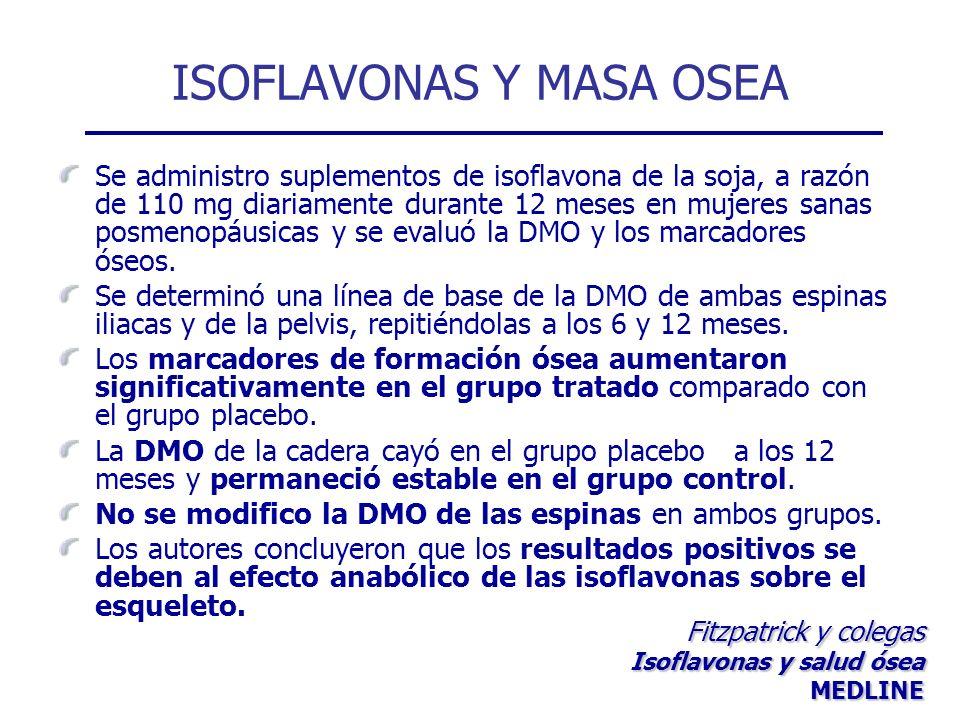 ISOFLAVONAS Y MASA OSEA Se administro suplementos de isoflavona de la soja, a razón de 110 mg diariamente durante 12 meses en mujeres sanas posmenopáu