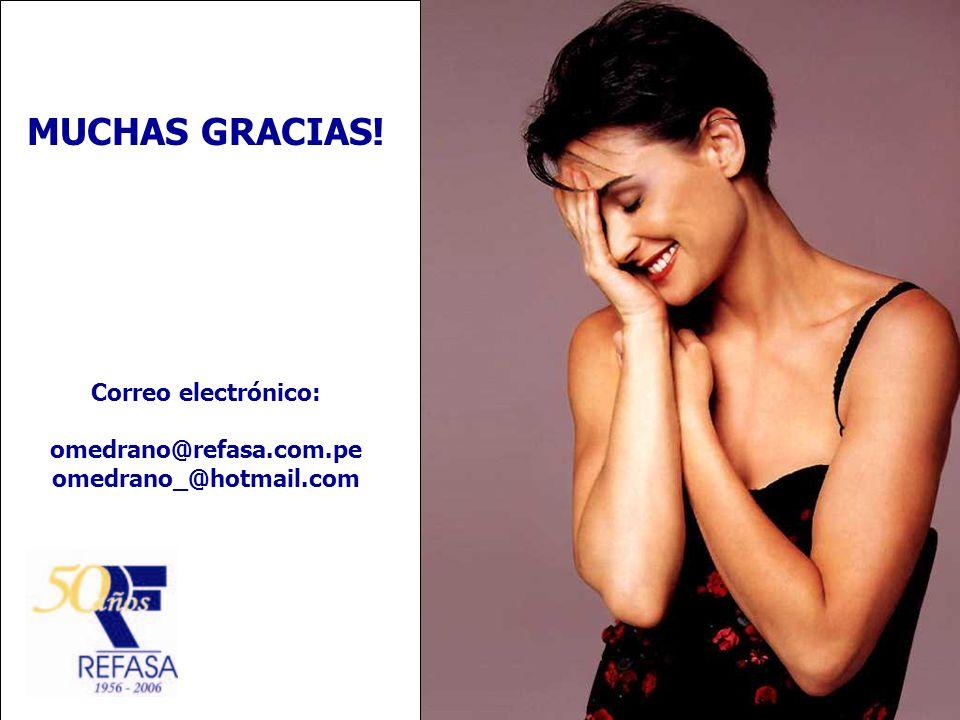 MUCHAS GRACIAS! Correo electrónico: omedrano@refasa.com.pe omedrano_@hotmail.com