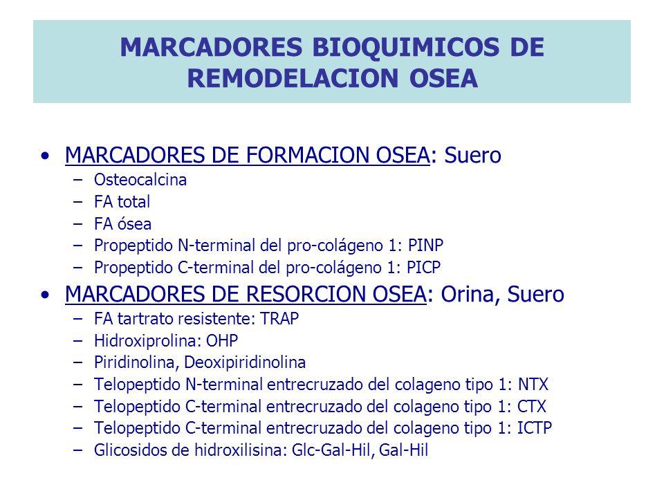 MARCADORES BIOQUIMICOS DE REMODELACION OSEA MARCADORES DE FORMACION OSEA: Suero –Osteocalcina –FA total –FA ósea –Propeptido N-terminal del pro-coláge