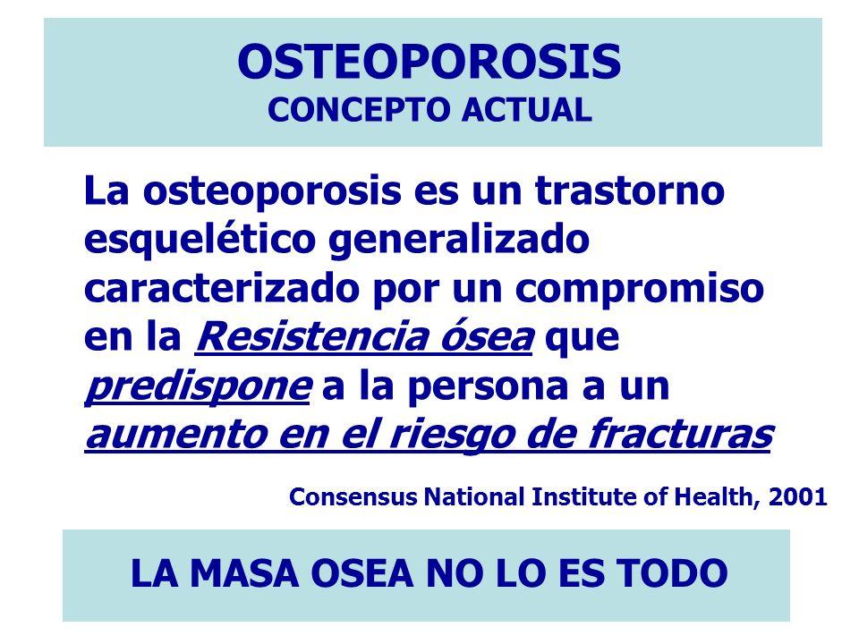 OSTEOPOROSIS CONCEPTO ACTUAL La osteoporosis es un trastorno esquelético generalizado caracterizado por un compromiso en la Resistencia ósea que predi