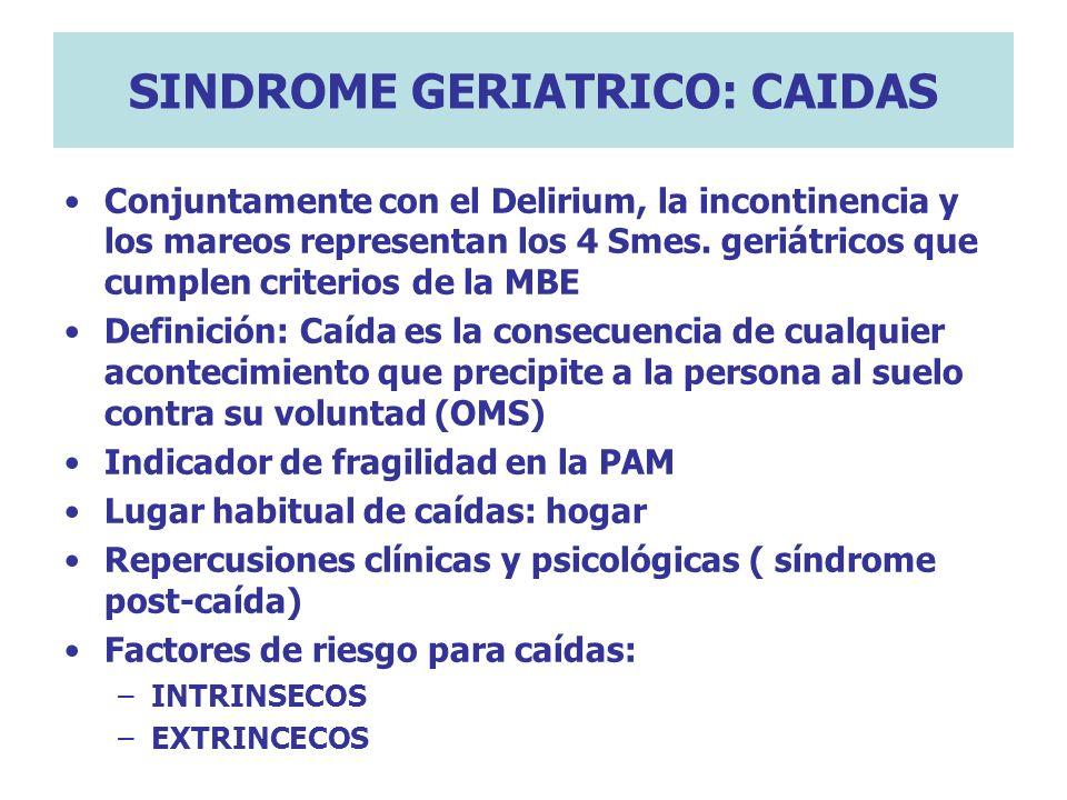 SINDROME GERIATRICO: CAIDAS Conjuntamente con el Delirium, la incontinencia y los mareos representan los 4 Smes. geriátricos que cumplen criterios de