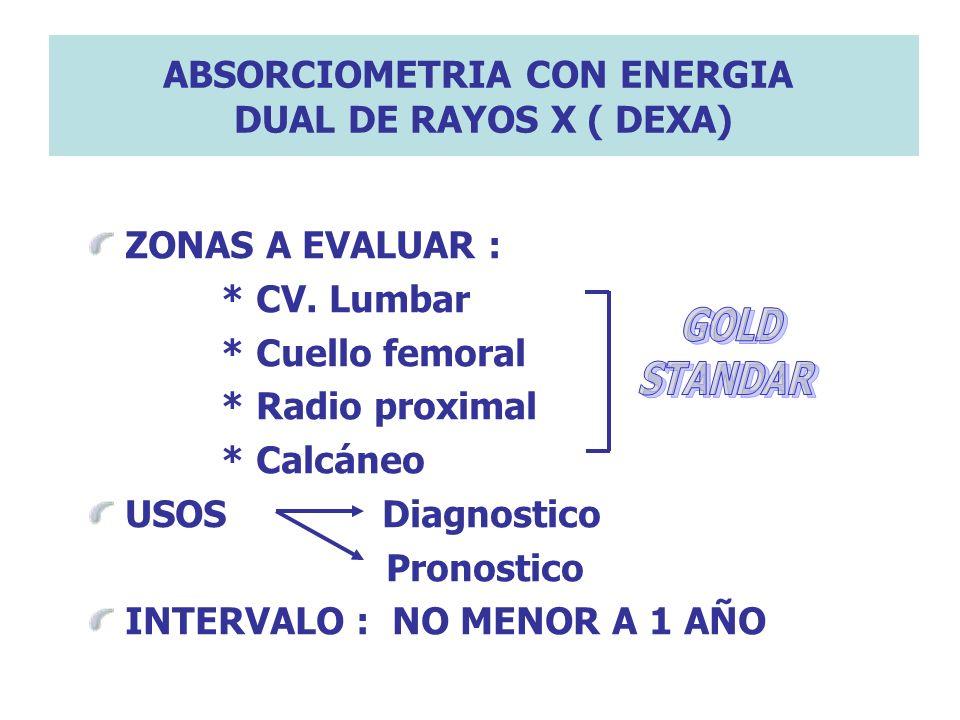ABSORCIOMETRIA CON ENERGIA DUAL DE RAYOS X ( DEXA) ZONAS A EVALUAR : * CV. Lumbar * Cuello femoral * Radio proximal * Calcáneo USOS Diagnostico Pronos