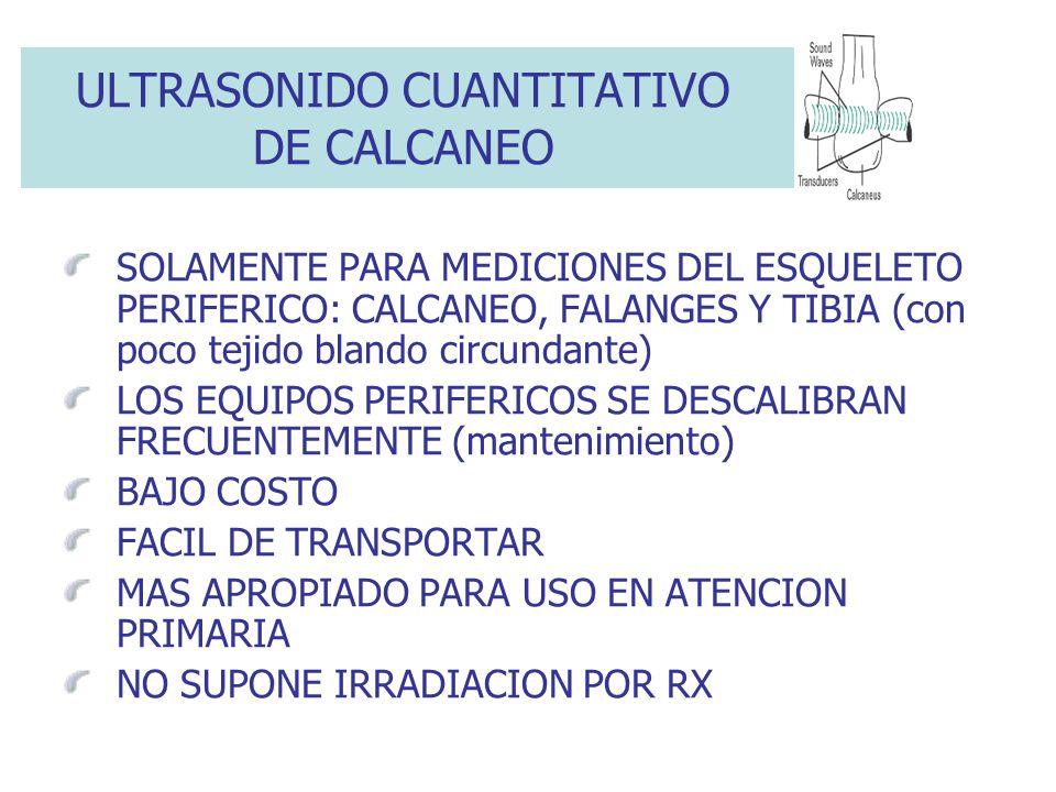 ULTRASONIDO CUANTITATIVO DE CALCANEO SOLAMENTE PARA MEDICIONES DEL ESQUELETO PERIFERICO: CALCANEO, FALANGES Y TIBIA (con poco tejido blando circundant