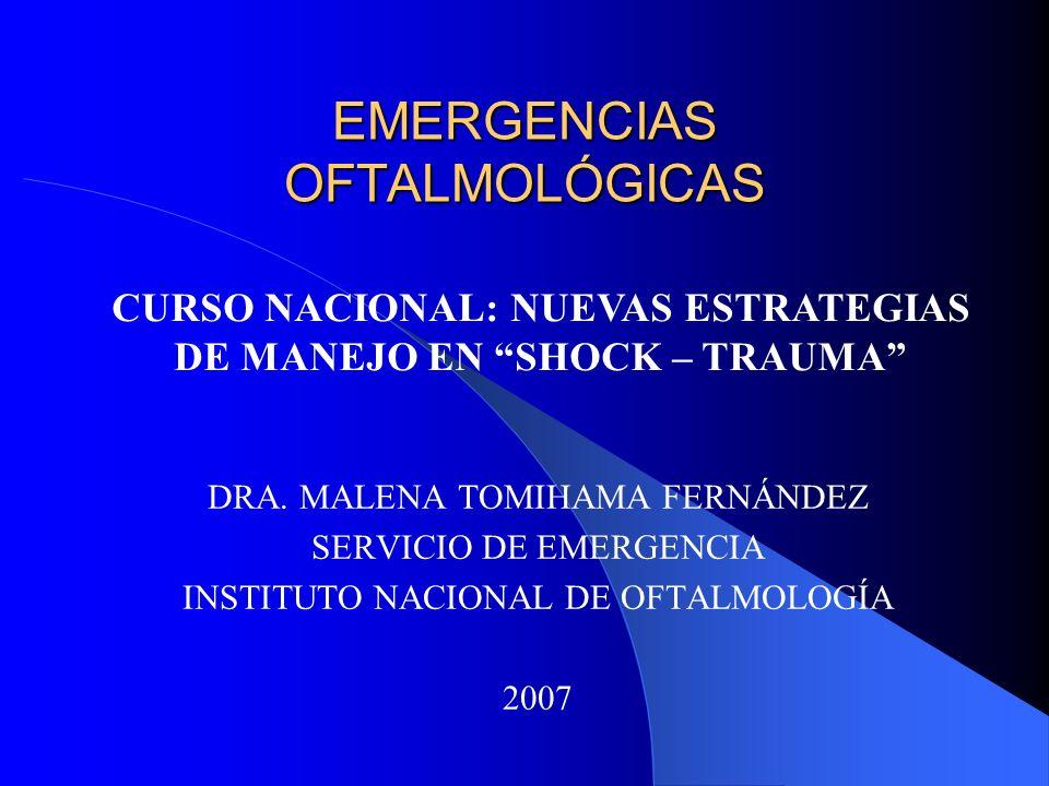 EMERGENCIAS OFTALMOLÓGICAS DRA. MALENA TOMIHAMA FERNÁNDEZ SERVICIO DE EMERGENCIA INSTITUTO NACIONAL DE OFTALMOLOGÍA 2007 CURSO NACIONAL: NUEVAS ESTRAT