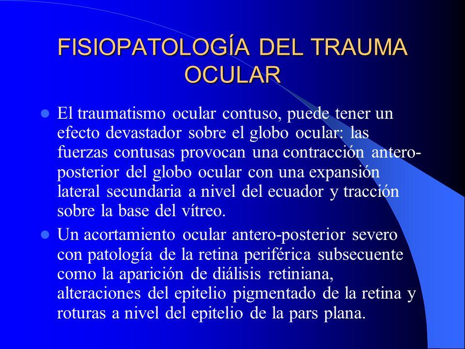 FISIOPATOLOGÍA DEL TRAUMA OCULAR El traumatismo ocular contuso, puede tener un efecto devastador sobre el globo ocular: las fuerzas contusas provocan