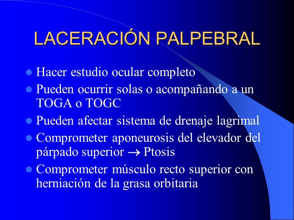 LACERACIÓN PALPEBRAL Hacer estudio ocular completo Pueden ocurrir solas o acompañando a un TOGA o TOGC Pueden afectar sistema de drenaje lagrimal Comp