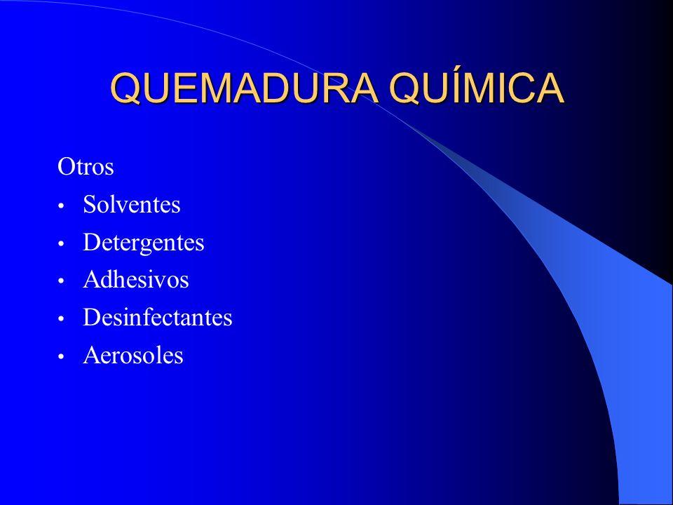 QUEMADURA QUÍMICA Otros Solventes Detergentes Adhesivos Desinfectantes Aerosoles