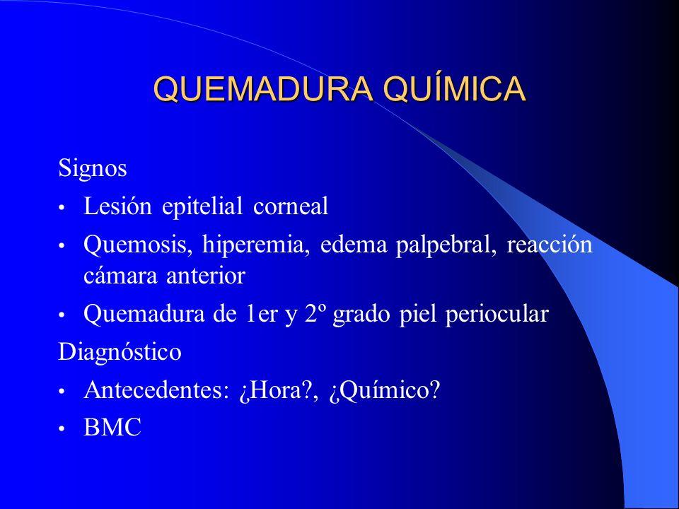 QUEMADURA QUÍMICA Signos Lesión epitelial corneal Quemosis, hiperemia, edema palpebral, reacción cámara anterior Quemadura de 1er y 2º grado piel peri