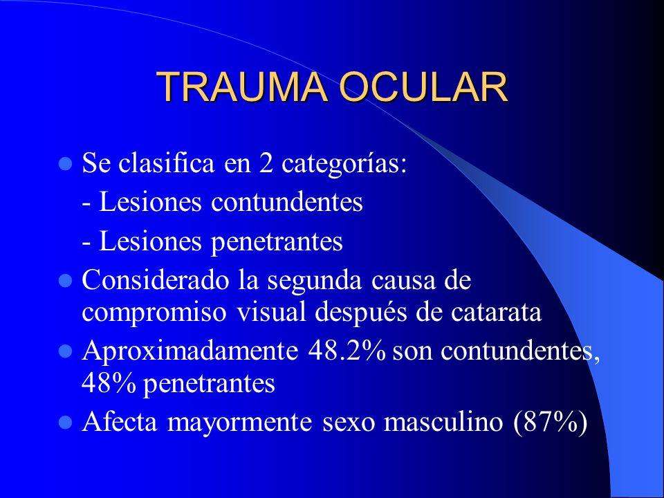 TRAUMA OCULAR Se clasifica en 2 categorías: - Lesiones contundentes - Lesiones penetrantes Considerado la segunda causa de compromiso visual después d