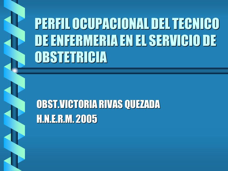 PERFIL OCUPACIONAL DEL TECNICO DE ENFERMERIA EN EL SERVICIO DE OBSTETRICIA OBST.VICTORIA RIVAS QUEZADA H.N.E.R.M. 2005