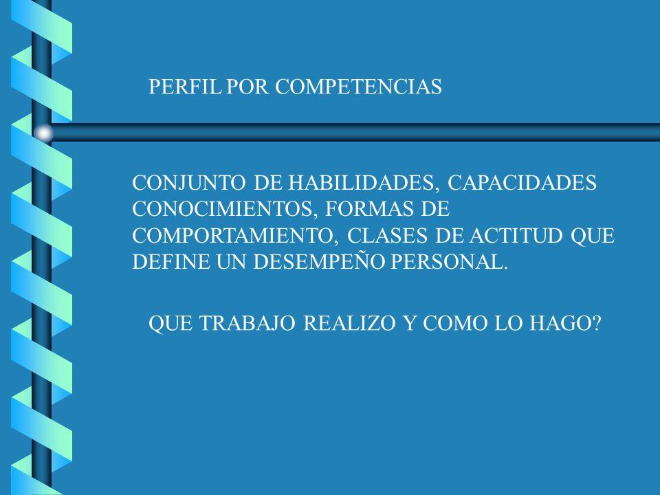 PERFIL POR COMPETENCIAS CONJUNTO DE HABILIDADES, CAPACIDADES CONOCIMIENTOS, FORMAS DE COMPORTAMIENTO, CLASES DE ACTITUD QUE DEFINE UN DESEMPEÑO PERSON