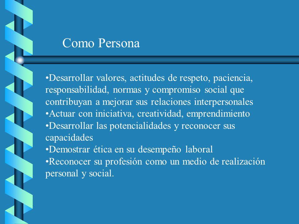 Como Persona Desarrollar valores, actitudes de respeto, paciencia, responsabilidad, normas y compromiso social que contribuyan a mejorar sus relacione