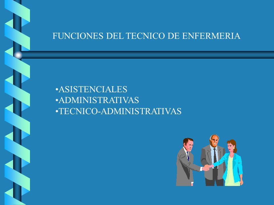 FUNCIONES DEL TECNICO DE ENFERMERIA ASISTENCIALES ADMINISTRATIVAS TECNICO-ADMINISTRATIVAS