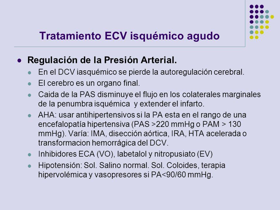 Tratamiento ECV isquémico agudo Regulación de la Presión Arterial. En el DCV iasquémico se pierde la autoregulación cerebral. El cerebro es un organo