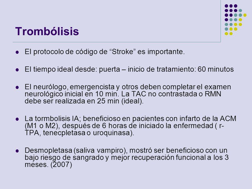 Trombólisis El protocolo de código de Stroke es importante. El tiempo ideal desde: puerta – inicio de tratamiento: 60 minutos El neurólogo, emergencis