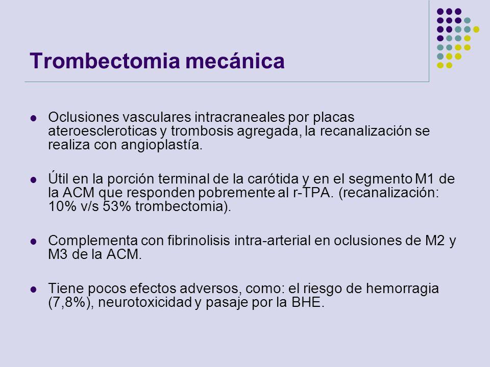 Trombectomia mecánica Oclusiones vasculares intracraneales por placas ateroescleroticas y trombosis agregada, la recanalización se realiza con angiopl