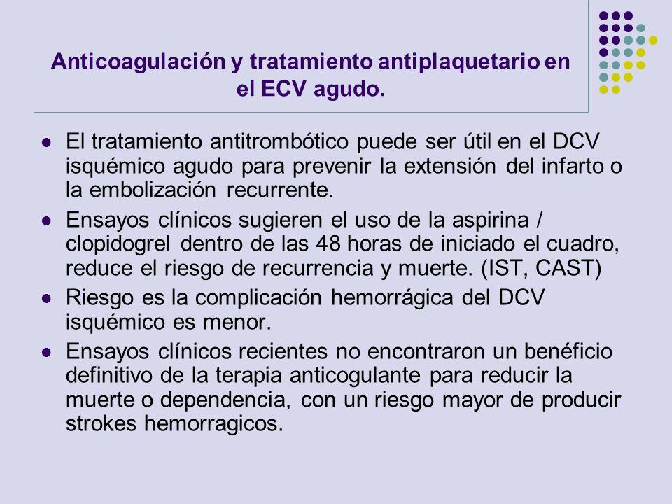 Anticoagulación y tratamiento antiplaquetario en el ECV agudo. El tratamiento antitrombótico puede ser útil en el DCV isquémico agudo para prevenir la