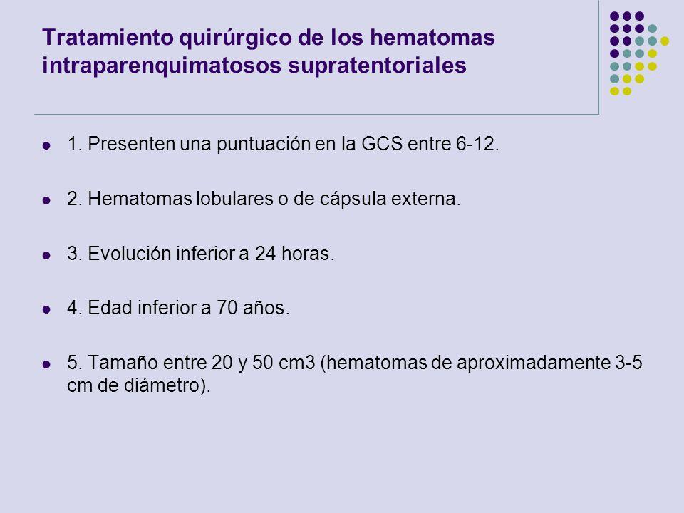 Tratamiento quirúrgico de los hematomas intraparenquimatosos supratentoriales 1. Presenten una puntuación en la GCS entre 6-12. 2. Hematomas lobulares