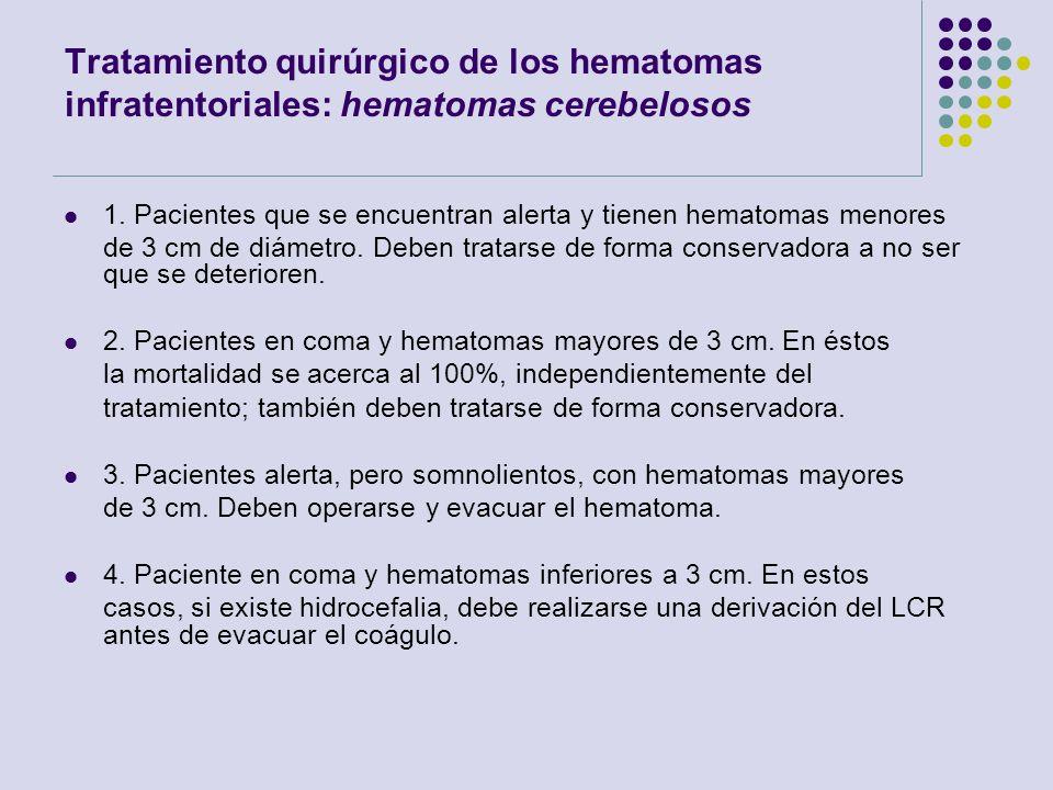 Tratamiento quirúrgico de los hematomas infratentoriales: hematomas cerebelosos 1. Pacientes que se encuentran alerta y tienen hematomas menores de 3