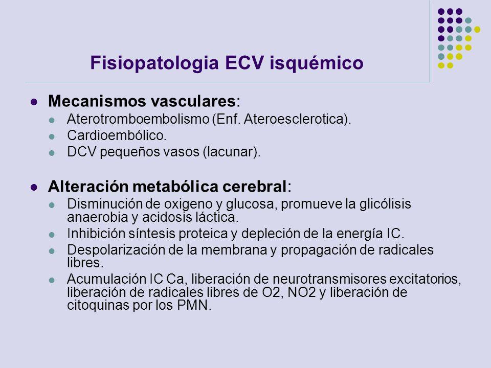 Fisiopatologia ECV isquémico Mecanismos vasculares: Aterotromboembolismo (Enf. Ateroesclerotica). Cardioembólico. DCV pequeños vasos (lacunar). Altera