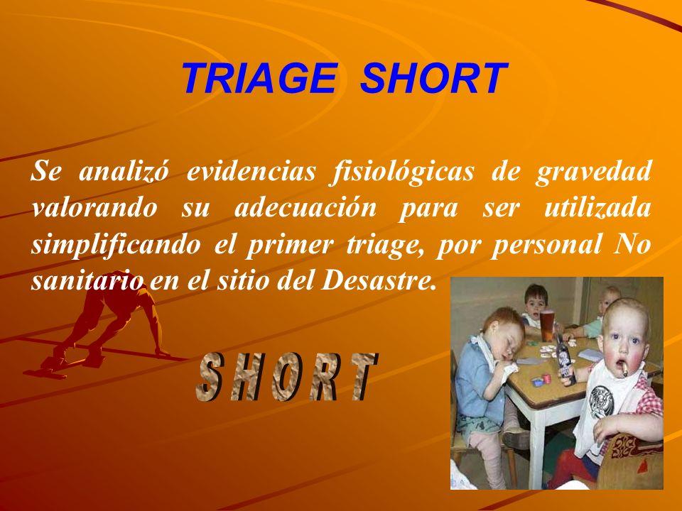 TRIAGE SHORT Se analizó evidencias fisiológicas de gravedad valorando su adecuación para ser utilizada simplificando el primer triage, por personal No