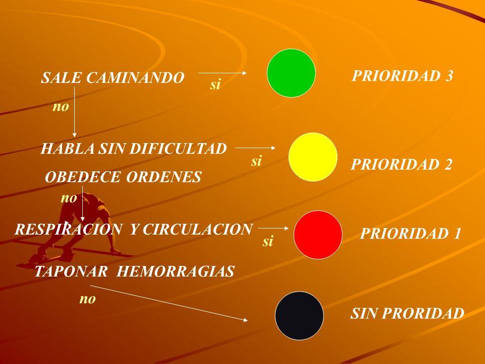 SALE CAMINANDO HABLA SIN DIFICULTAD OBEDECE ORDENES RESPIRACIONY CIRCULACION PRIORIDAD 1 PRIORIDAD 2 PRIORIDAD 3 SIN PRORIDAD TAPONAR HEMORRAGIAS no s