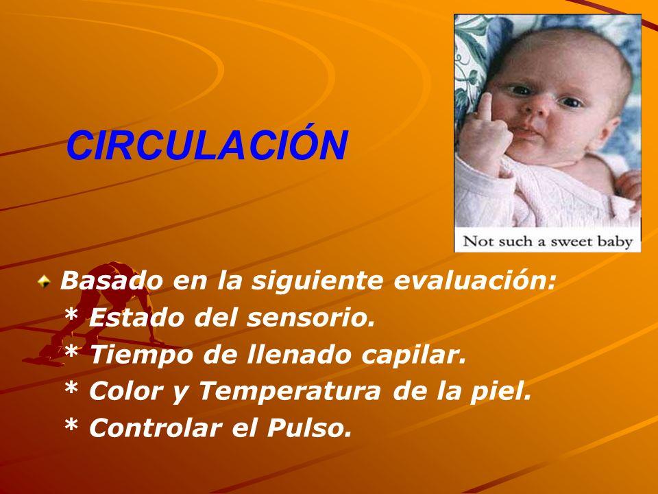 CIRCULACIÓN Basado en la siguiente evaluación: * Estado del sensorio. * Tiempo de llenado capilar. * Color y Temperatura de la piel. * Controlar el Pu