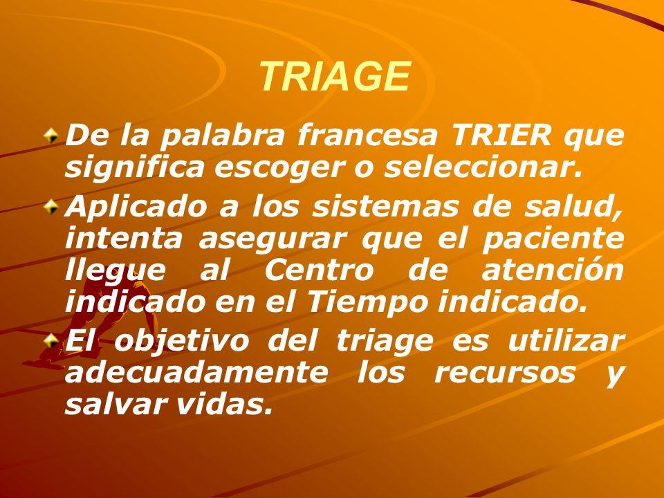 TRIAGE De la palabra francesa TRIER que significa escoger o seleccionar. Aplicado a los sistemas de salud, intenta asegurar que el paciente llegue al