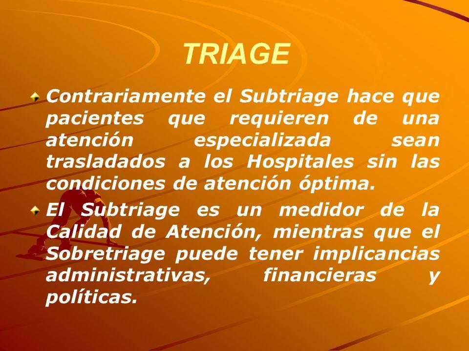TRIAGE Contrariamente el Subtriage hace que pacientes que requieren de una atención especializada sean trasladados a los Hospitales sin las condicione