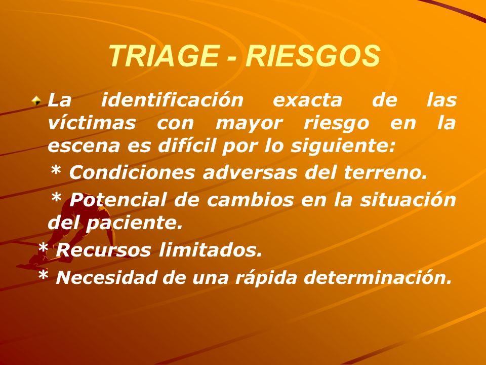 TRIAGE - RIESGOS La identificación exacta de las víctimas con mayor riesgo en la escena es difícil por lo siguiente: * Condiciones adversas del terren