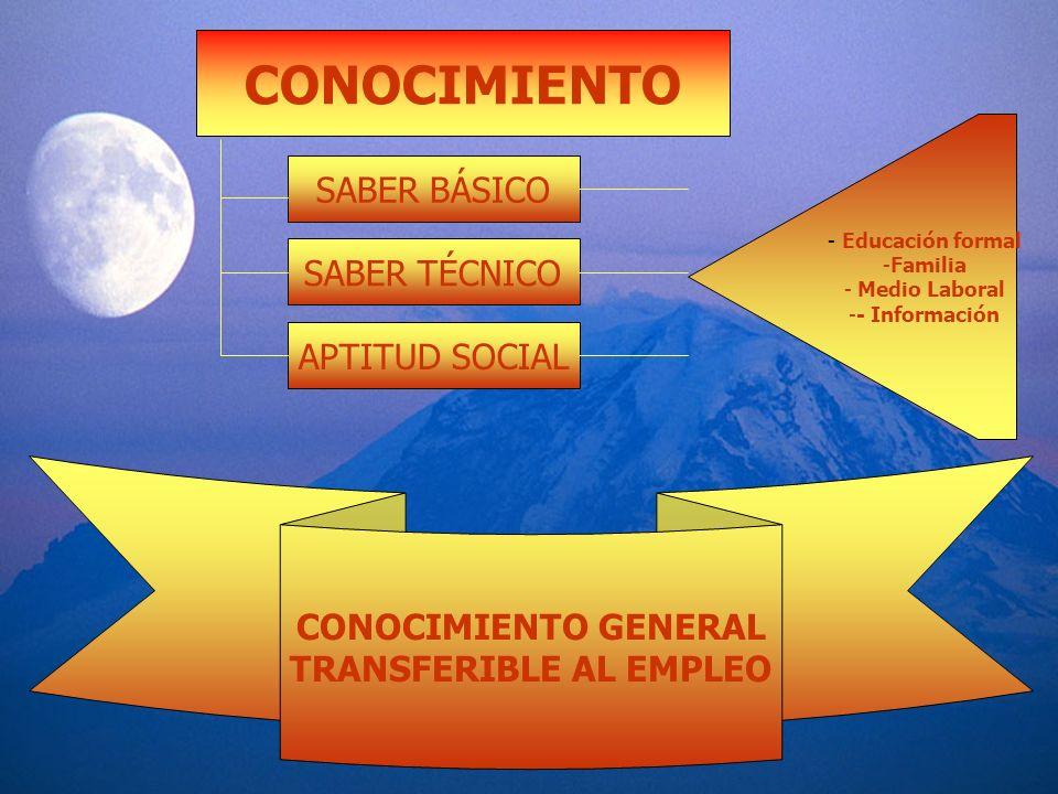 CONOCIMIENTO SABER BÁSICO SABER TÉCNICO APTITUD SOCIAL - Educación formal -Familia - Medio Laboral -- Información CONOCIMIENTO GENERAL TRANSFERIBLE AL