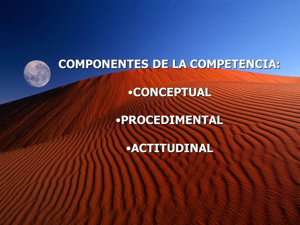 COMPONENTES DE LA COMPETENCIA: CONCEPTUALCONCEPTUAL PROCEDIMENTALPROCEDIMENTAL ACTITUDINALACTITUDINAL