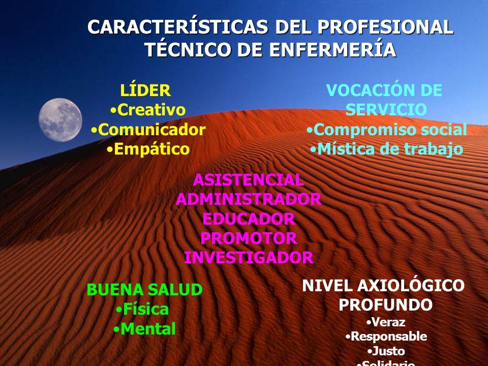 CARACTERÍSTICAS DEL PROFESIONAL TÉCNICO DE ENFERMERÍA LÍDER Creativo Comunicador Empático VOCACIÓN DE SERVICIO Compromiso social Mística de trabajo BU