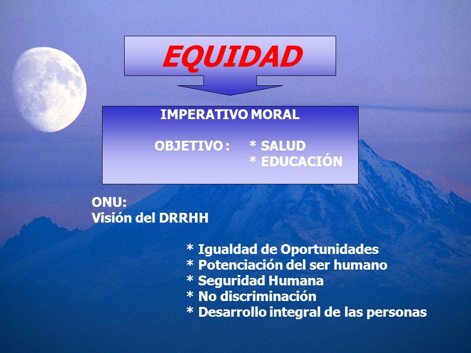 EQUIDAD IMPERATIVO MORAL OBJETIVO : * SALUD * EDUCACIÓN ONU: Visión del DRRHH * Igualdad de Oportunidades * Potenciación del ser humano * Seguridad Hu