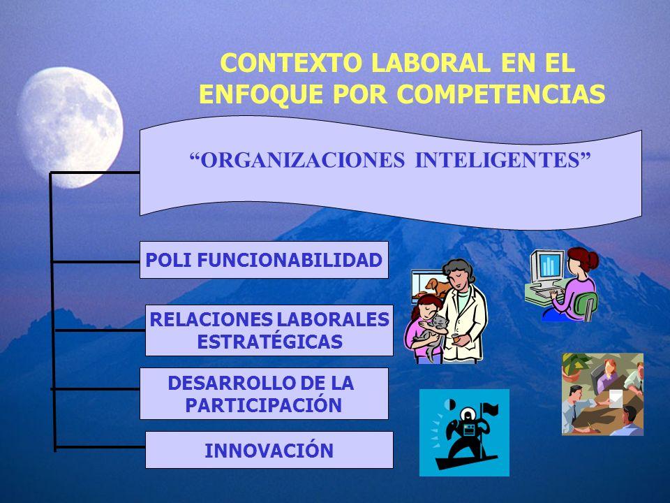 CONTEXTO LABORAL EN EL ENFOQUE POR COMPETENCIAS ORGANIZACIONES INTELIGENTES POLI FUNCIONABILIDAD RELACIONES LABORALES ESTRATÉGICAS DESARROLLO DE LA PA