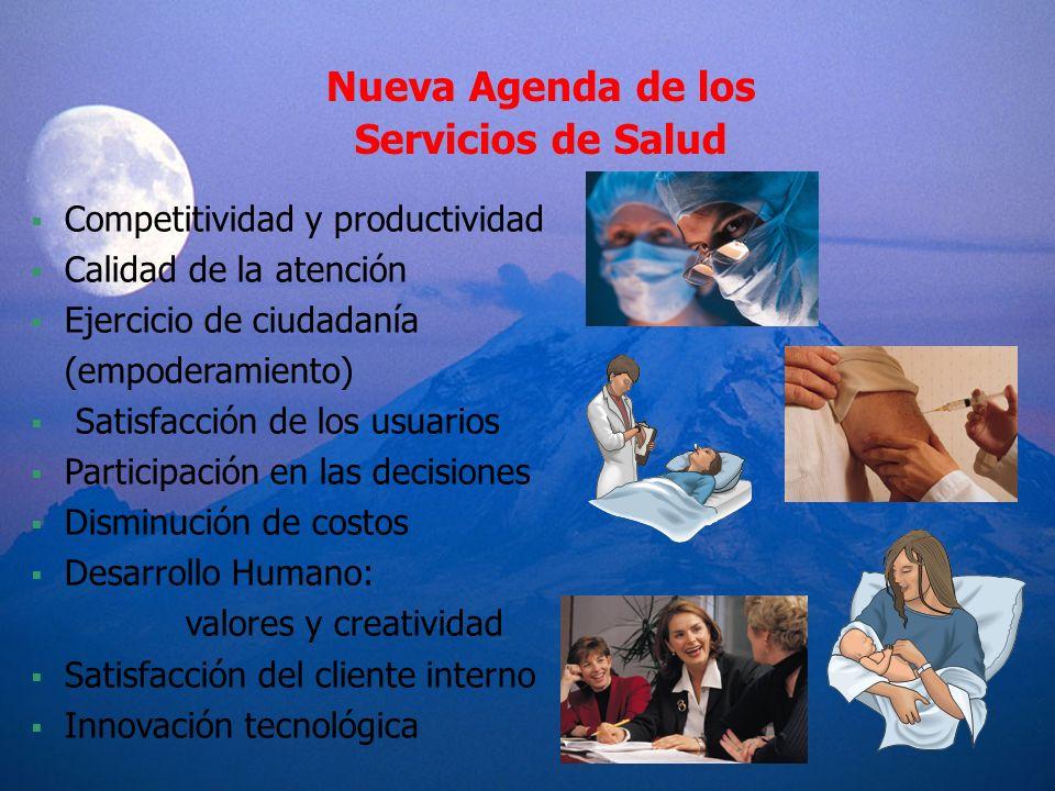 Nueva Agenda de los Servicios de Salud Competitividad y productividad Calidad de la atención Ejercicio de ciudadanía (empoderamiento) Satisfacción de