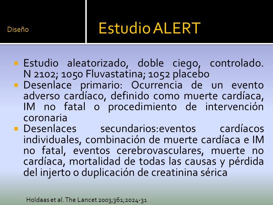 Diseño Estudio aleatorizado, doble ciego, controlado. N 2102; 1050 Fluvastatina; 1052 placebo Desenlace primario: Ocurrencia de un evento adverso card