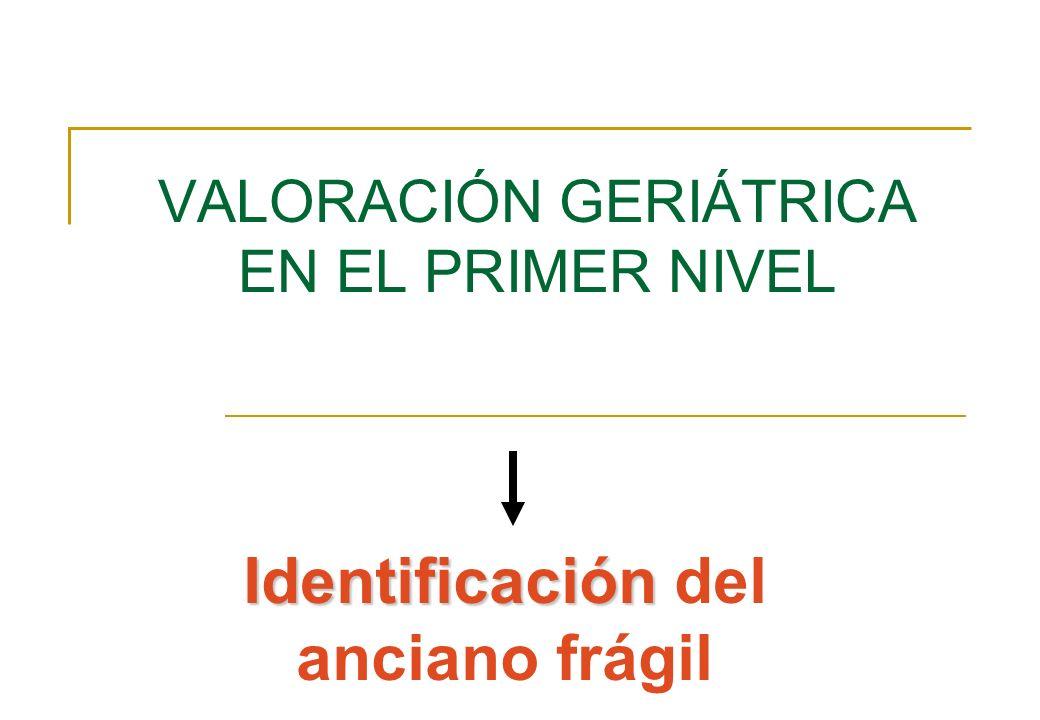 VALORACIÓN GERIÁTRICA EN EL PRIMER NIVEL Identificación Identificación del anciano frágil