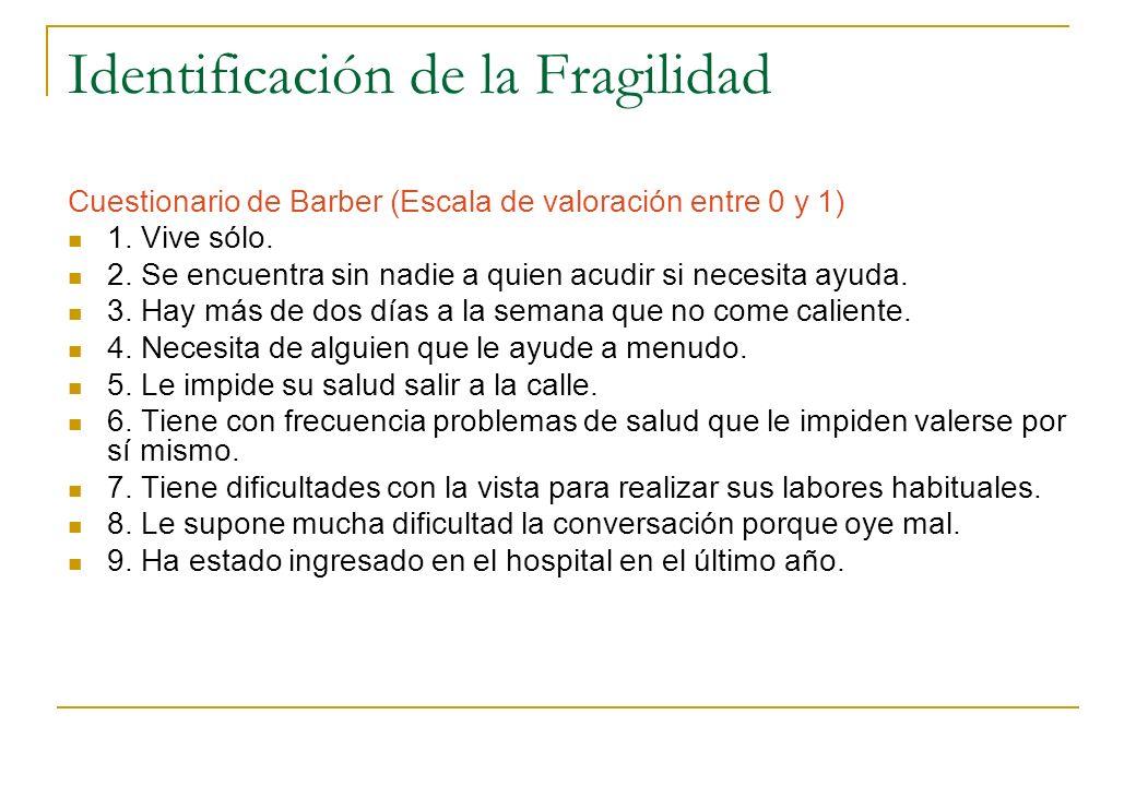 Identificación de la Fragilidad Cuestionario de Barber (Escala de valoración entre 0 y 1) 1. Vive sólo. 2. Se encuentra sin nadie a quien acudir si ne
