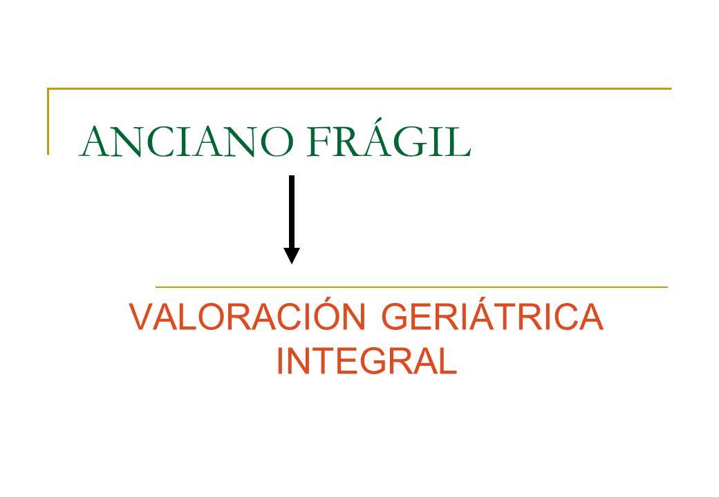 ANCIANO FRÁGIL VALORACIÓN GERIÁTRICA INTEGRAL
