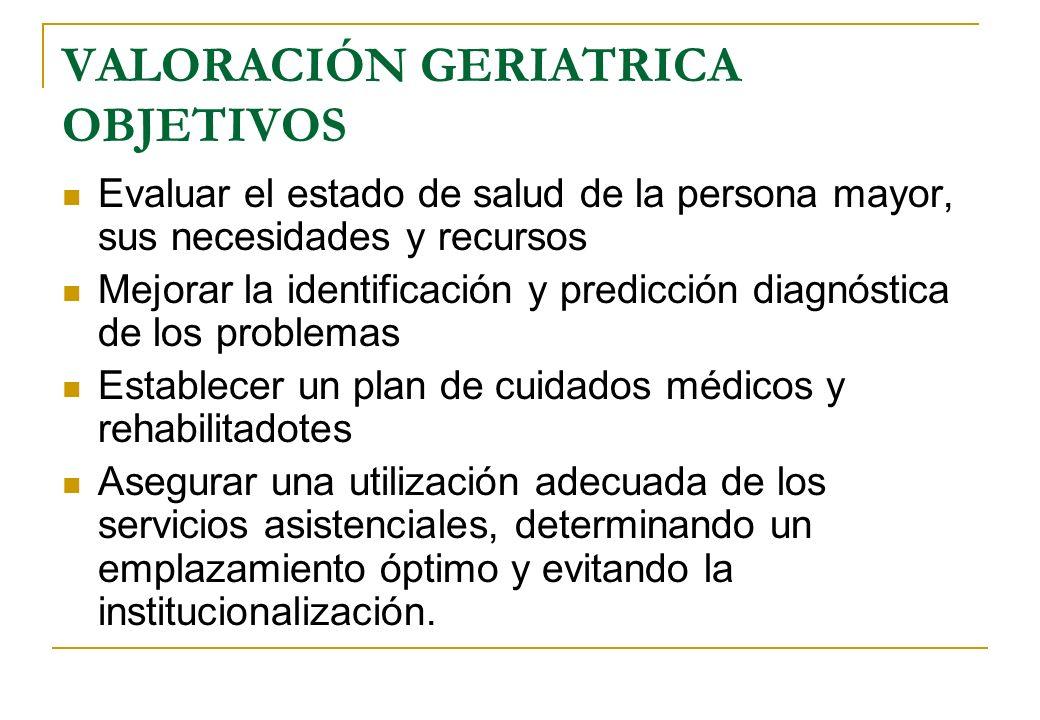 VALORACIÓN GERIATRICA OBJETIVOS Evaluar el estado de salud de la persona mayor, sus necesidades y recursos Mejorar la identificación y predicción diag