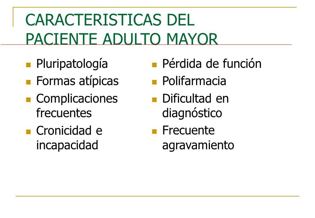 CARACTERISTICAS DEL PACIENTE ADULTO MAYOR Pluripatología Formas atípicas Complicaciones frecuentes Cronicidad e incapacidad Pérdida de función Polifar
