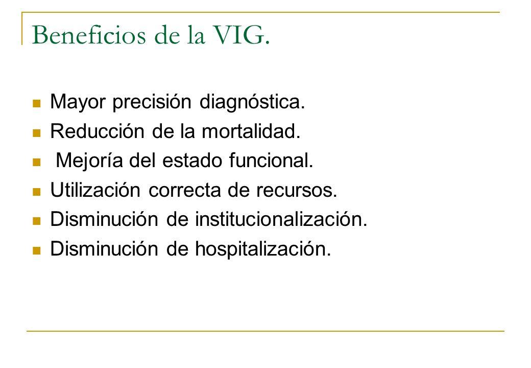 Beneficios de la VIG. Mayor precisión diagnóstica. Reducción de la mortalidad. Mejoría del estado funcional. Utilización correcta de recursos. Disminu