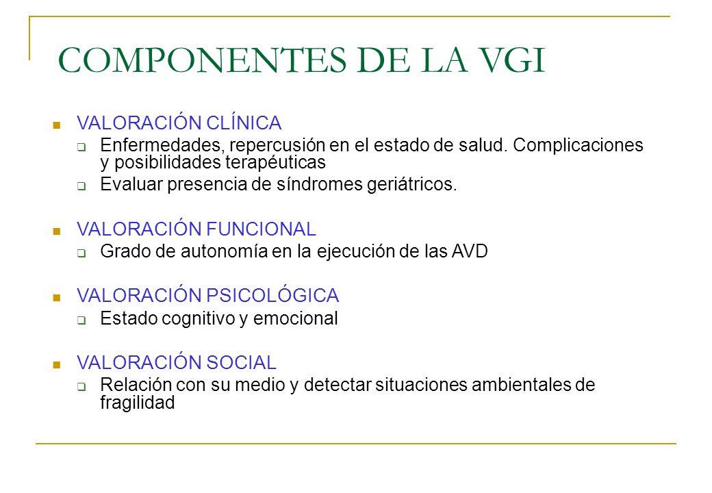COMPONENTES DE LA VGI VALORACIÓN CLÍNICA Enfermedades, repercusión en el estado de salud. Complicaciones y posibilidades terapéuticas Evaluar presenci