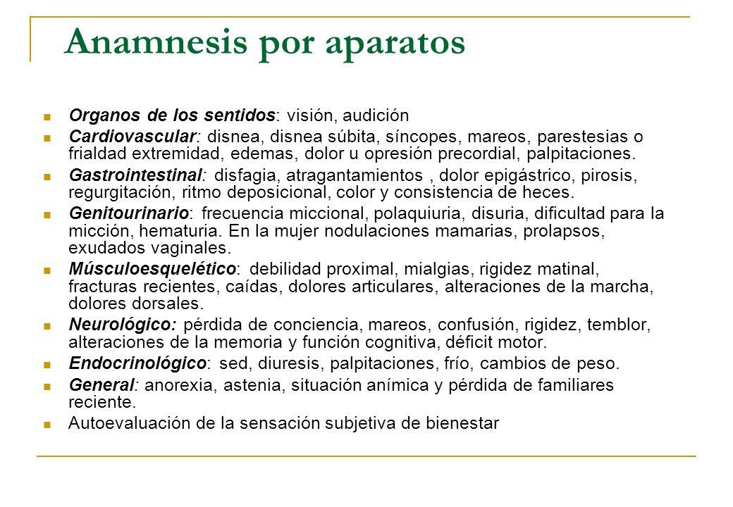 Anamnesis por aparatos Organos de los sentidos: visión, audición Cardiovascular: disnea, disnea súbita, síncopes, mareos, parestesias o frialdad extre