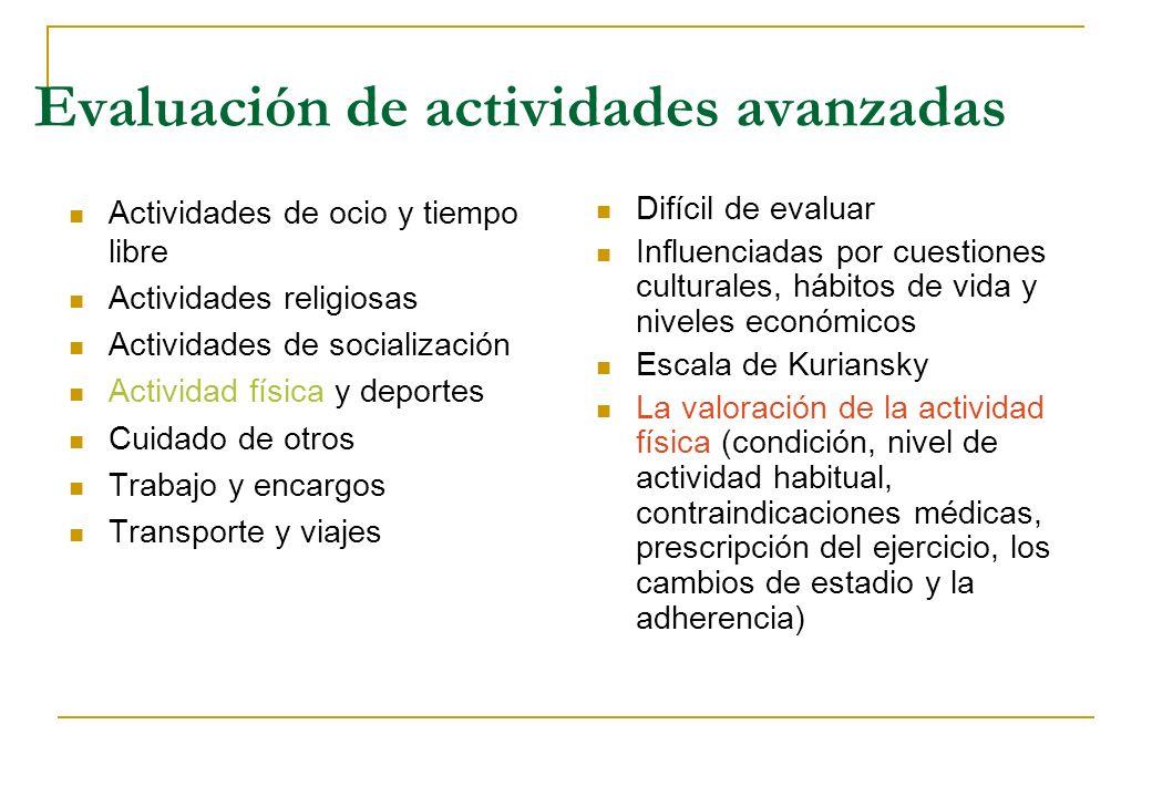 Evaluación de actividades avanzadas Actividades de ocio y tiempo libre Actividades religiosas Actividades de socialización Actividad física y deportes
