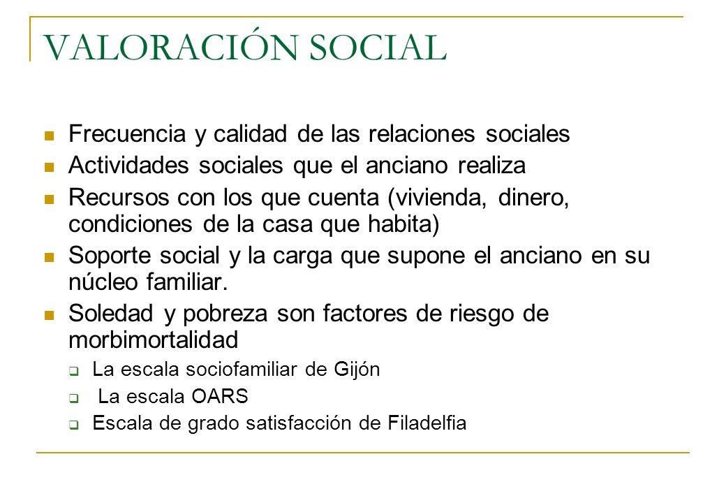 VALORACIÓN SOCIAL Frecuencia y calidad de las relaciones sociales Actividades sociales que el anciano realiza Recursos con los que cuenta (vivienda, d